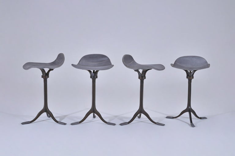 Four Counter-Height Swivel Stools, Pigeon Leather, Brown Brass by P. Tendercool In New Condition For Sale In Bangkok, TH