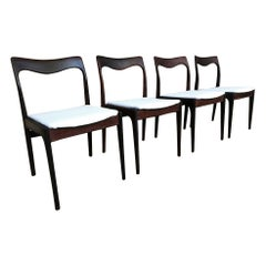 Four Danish 1960 Retro Moller Rosewood Chairs Newly Upholstered in White Leather