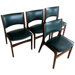 Four Danish Erik Buch Refinished Dining Chairs in Solid Teak, Inc. Reupholstery