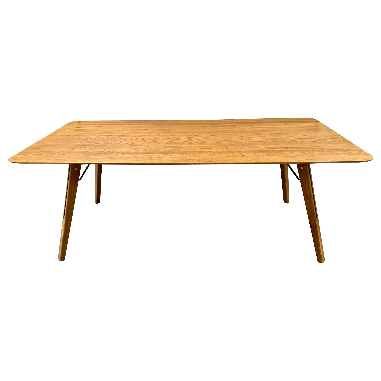 Four Danish Modern Oak Plank Midcentury Sleek Dining Tables Writing Desks