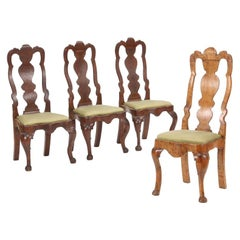 Four Danish Régence Dark Stained and Birchwood Side Chairs, circa 1740
