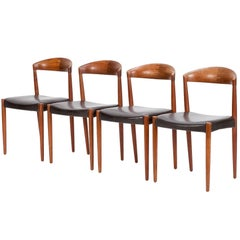 Four Danish Teak and Leather Chairs by Knud Andersen, 1960s