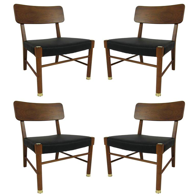 Four Danish Teak Lounge Chairs by Borge Mogensen For Sale