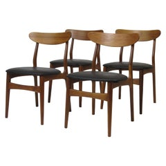 Four Danish Walnut Dining Chairs