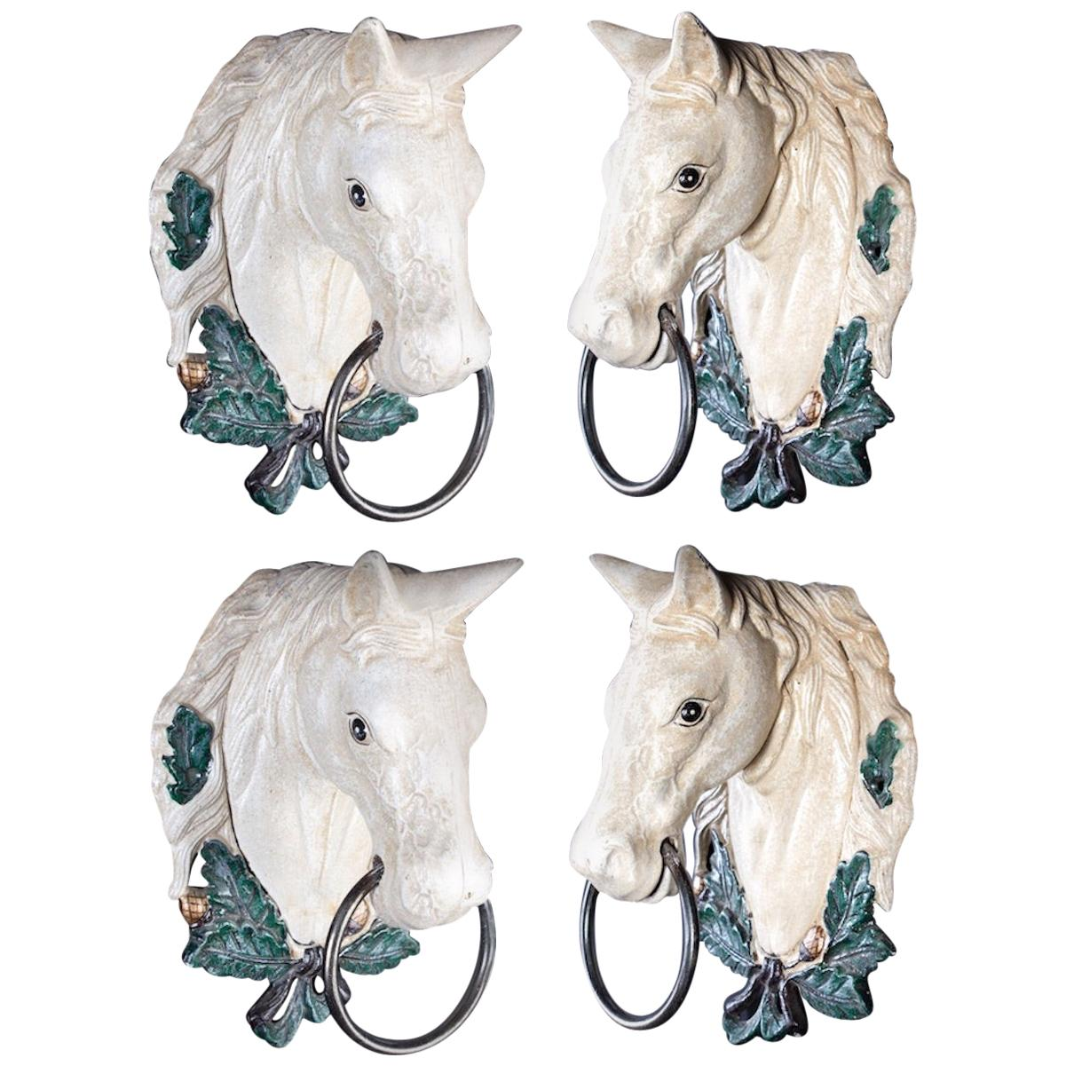 Four Delicious Painted Metal Horse Head Sculptures, 1970