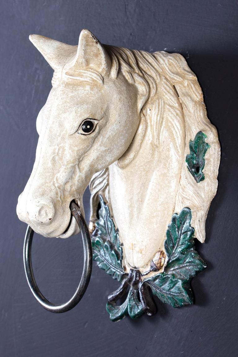 20th Century Four Delicious Painted Metal Horse Head Sculptures, 1970 For Sale