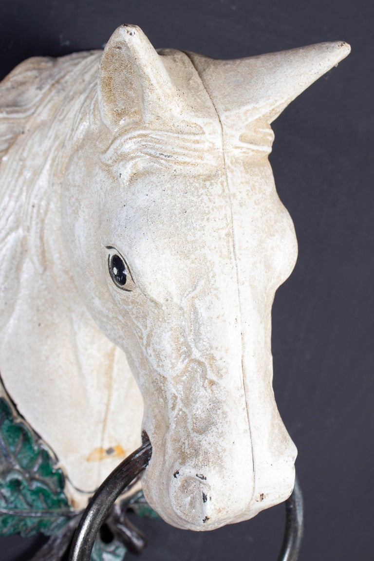 Four Delicious Painted Metal Horse Head Sculptures, 1970 For Sale 2