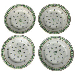 Four Derby Porcelain Dishes Hand Painted in Sprig Pattern, England, circa 1815