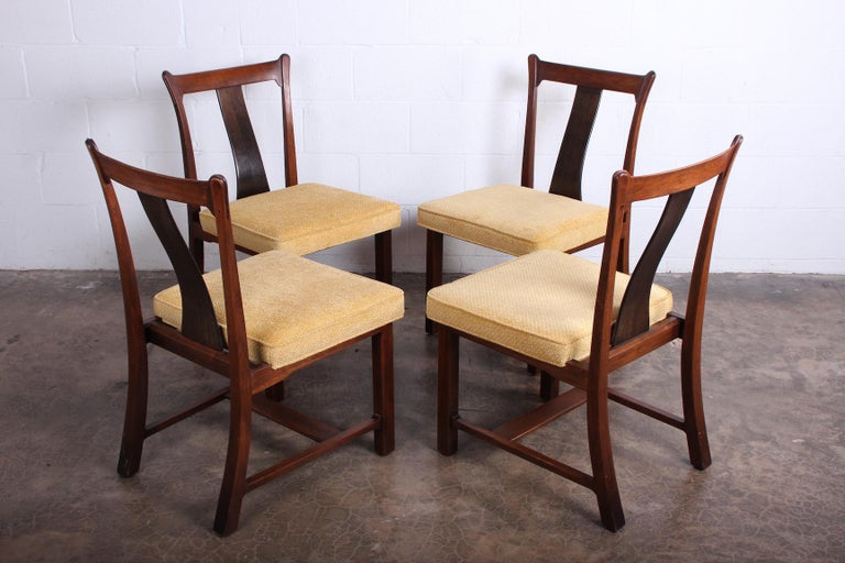 Four Dining Chairs by Edward Wormley for Dunbar For Sale 6