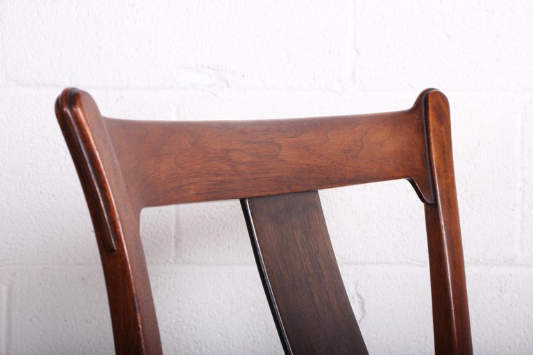 Walnut Four Dining Chairs by Edward Wormley for Dunbar For Sale