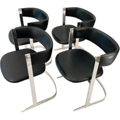 Four Dining Chairs Chrome-Plated, 1970s