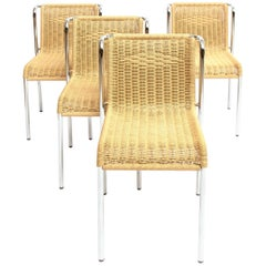 Four Dining Chairs Chrome-Plated Stackable, with Robe Weaving Seat and Back