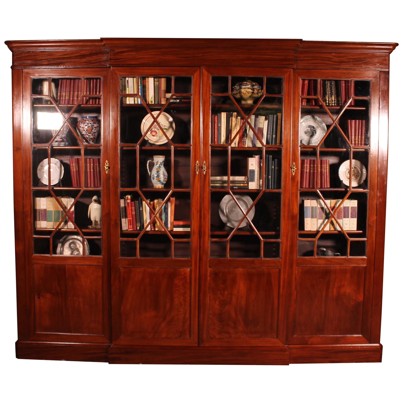 Four-Door Breakfront Bookcase in Mahogany, 19th Century