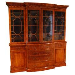 Four-Door Breakfront Cabinet in Yewood