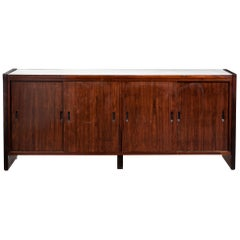 Four-Door Credenza in Rosewood with White Formica Top and Sides, 1960s
