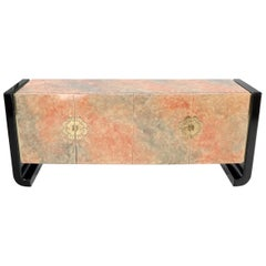 Four Doors Black Lacquer Faux Finish Brass Hardware Pull Credenza Dresser Server
