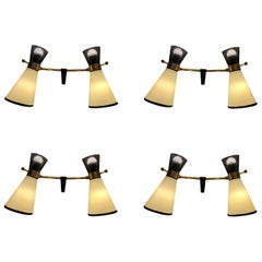 Four Double Adjustable Wall Lights by Arlus, 1950