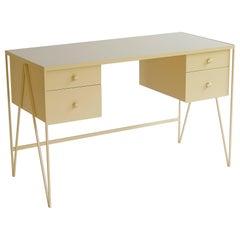Four Drawer Butternut Study Desk with Natural Linoleum Top, Customizable