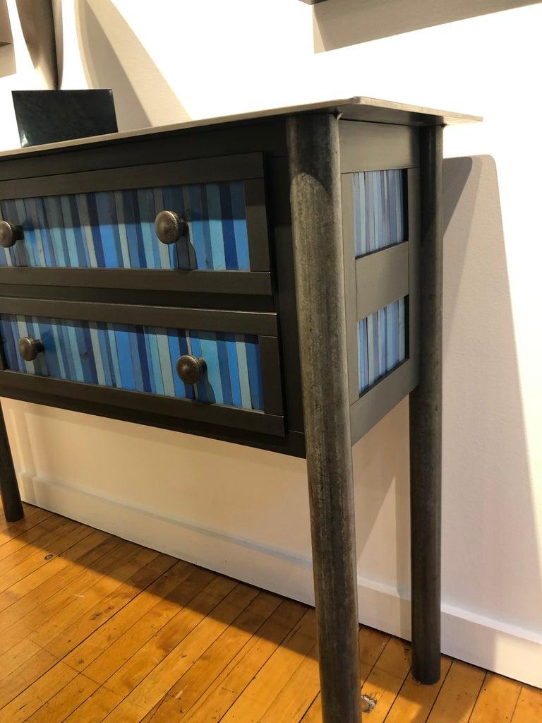 Shaker Jim Rose Steel Furniture - Four Drawer Gee's Bend Blue Strip Quilt Cupboard For Sale