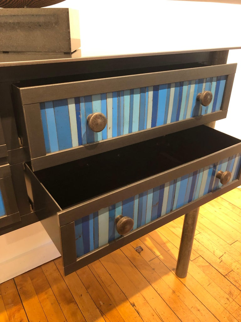 Welded Jim Rose Steel Furniture - Four Drawer Gee's Bend Blue Strip Quilt Cupboard For Sale