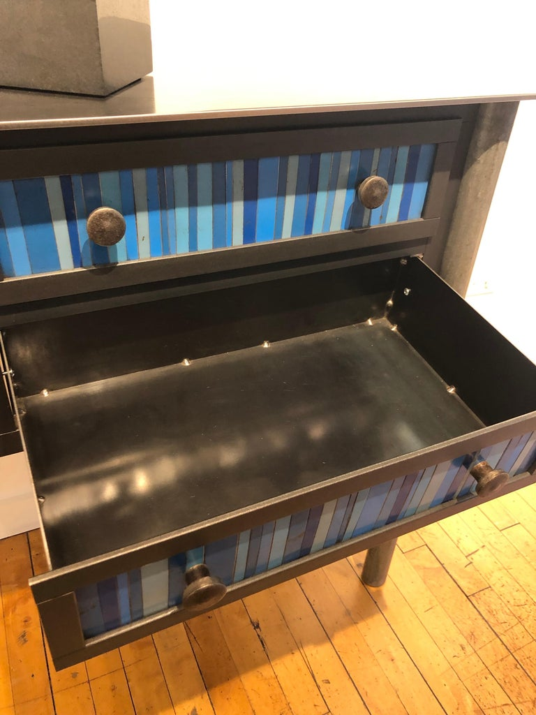Jim Rose Steel Furniture - Four Drawer Gee's Bend Blue Strip Quilt Cupboard In New Condition For Sale In Chicago, IL