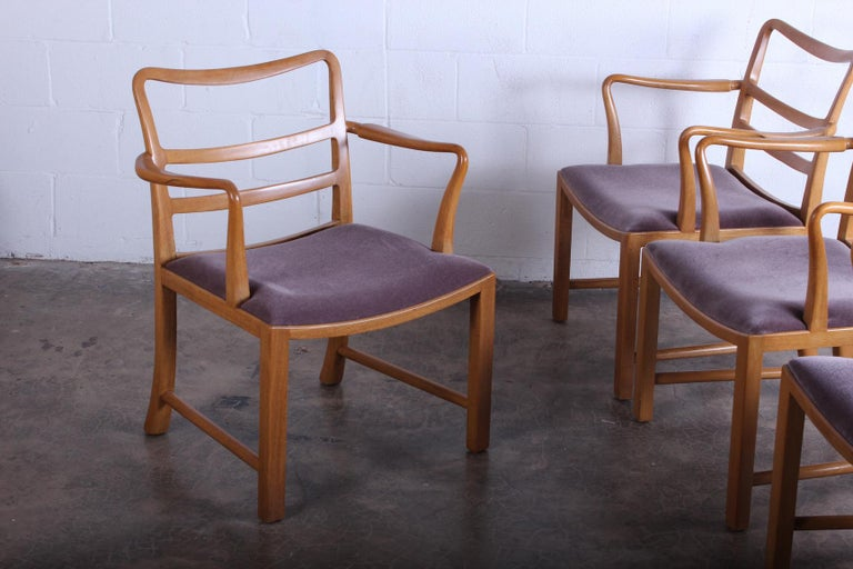 A set of four Dunbar armchairs in bleached mahogany with mohair upholstery. Designed by Edward Wormley.