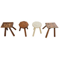 Four Dutch Milking Stools, Early 20th Century