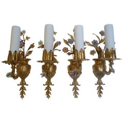 Four E. F. Caldwell Neoclassical Style Gilt Bronze and Porcelain Flower Sconces