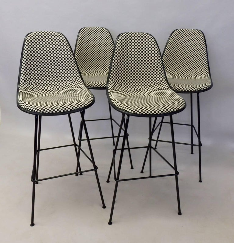 Mid-Century Modern Four Eames Herman Mill Bar Stools with Girard Checkerboard Fabric For Sale