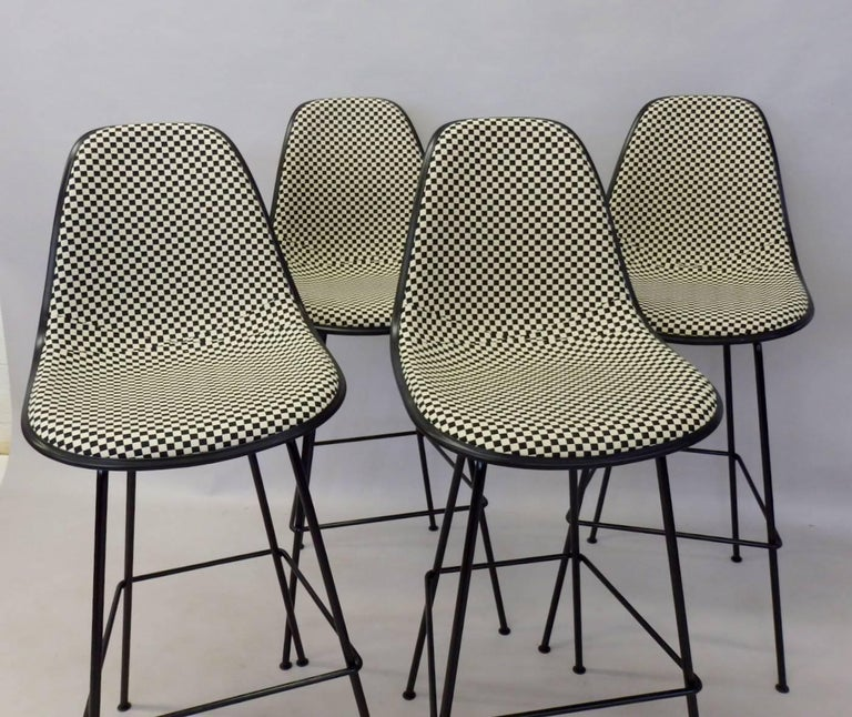 American Four Eames Herman Mill Bar Stools with Girard Checkerboard Fabric For Sale