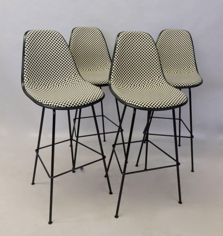 Contemporary Four Eames Herman Mill Bar Stools with Girard Checkerboard Fabric For Sale