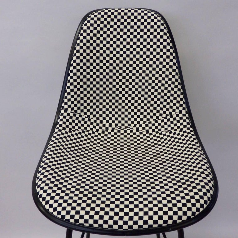 Steel Four Eames Herman Mill Bar Stools with Girard Checkerboard Fabric For Sale