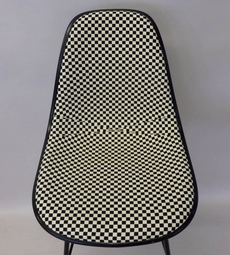 Four Eames Herman Mill Bar Stools with Girard Checkerboard Fabric For Sale 1
