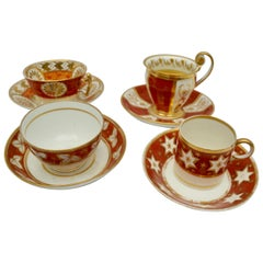 Four Early 19th Century Cups and Saucers, English and Paris