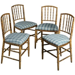 Four Early 19th Century Regency Period Painted Faux Bamboo Side Chairs