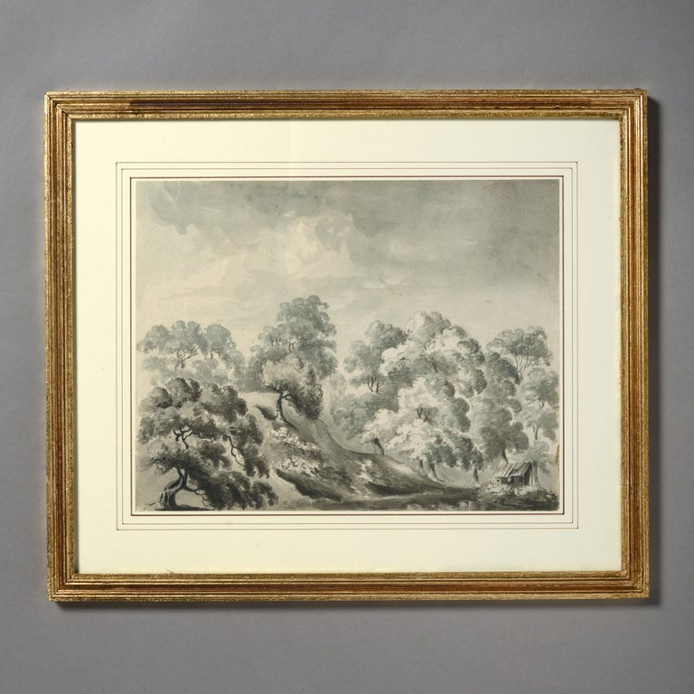 Four charming early 19th century sepia drawings depicting woodland views. All of South Eastern England.   Dimensions refer to framed sizes.