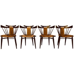 "Four Edmond Spence ""Yucatan"" Mahogany Side Chairs Woven Sea Grass Seats"
