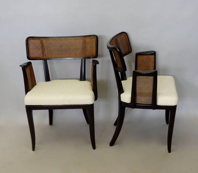 Fine set of four Wormley for Dunbar cane back dining chair. Nicely refinished seats re upholstered.