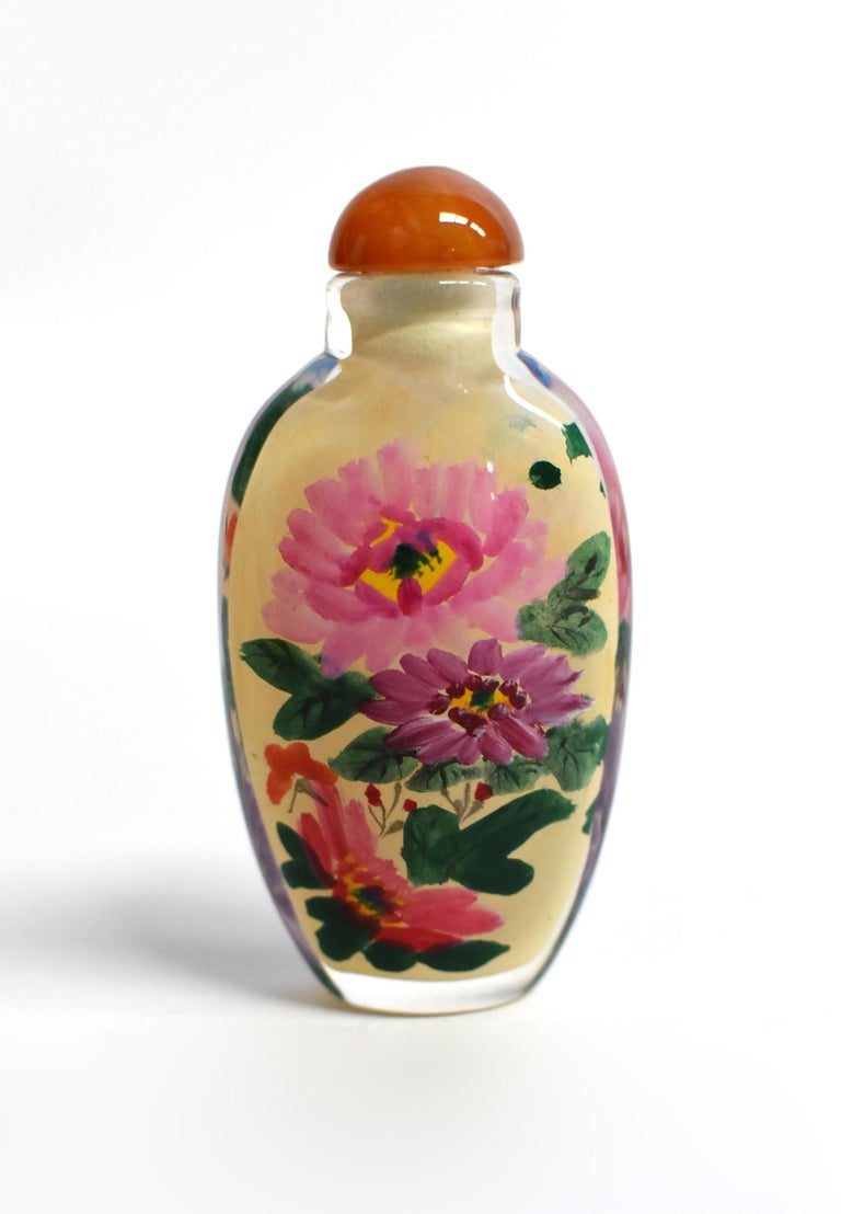 Four Églomisé Reverse Painted Snuff Bottles with Peonies and Birds For Sale 5