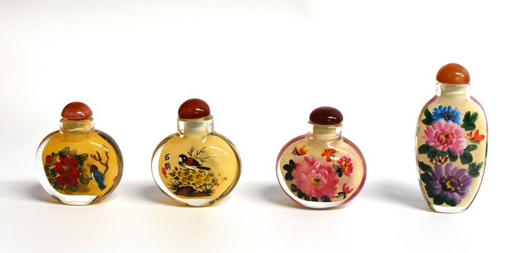 Four Églomisé Reverse Painted Snuff Bottles with Peonies and Birds For Sale 6