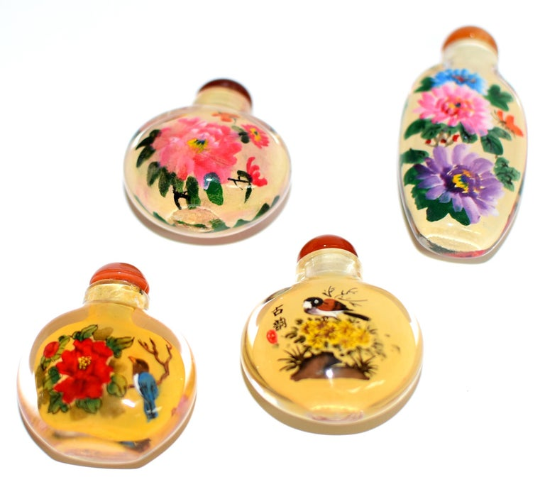 Four Églomisé Reverse Painted Snuff Bottles with Peonies and Birds For Sale 7