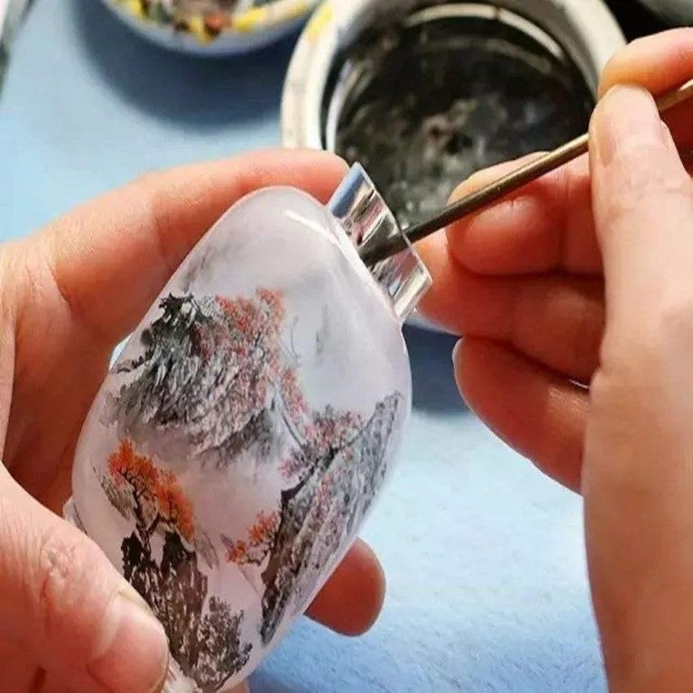 Four Églomisé Reverse Painted Snuff Bottles with Peonies and Birds For Sale 8