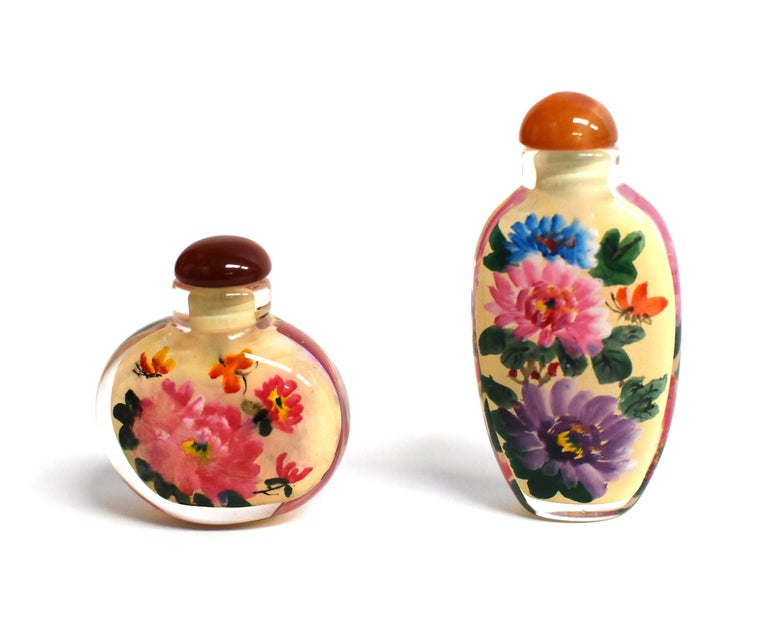 Chinese Four Églomisé Reverse Painted Snuff Bottles with Peonies and Birds For Sale