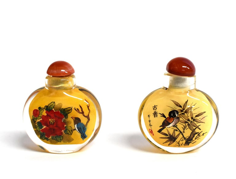 Contemporary Four Églomisé Reverse Painted Snuff Bottles with Peonies and Birds For Sale
