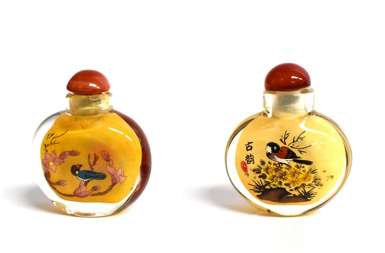 Agate Four Églomisé Reverse Painted Snuff Bottles with Peonies and Birds For Sale