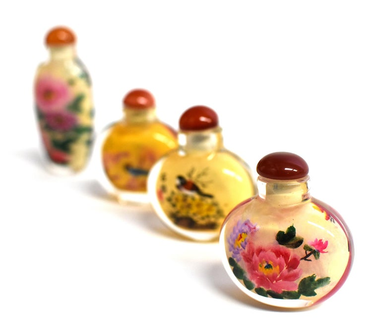 Four Églomisé Reverse Painted Snuff Bottles with Peonies and Birds For Sale 1