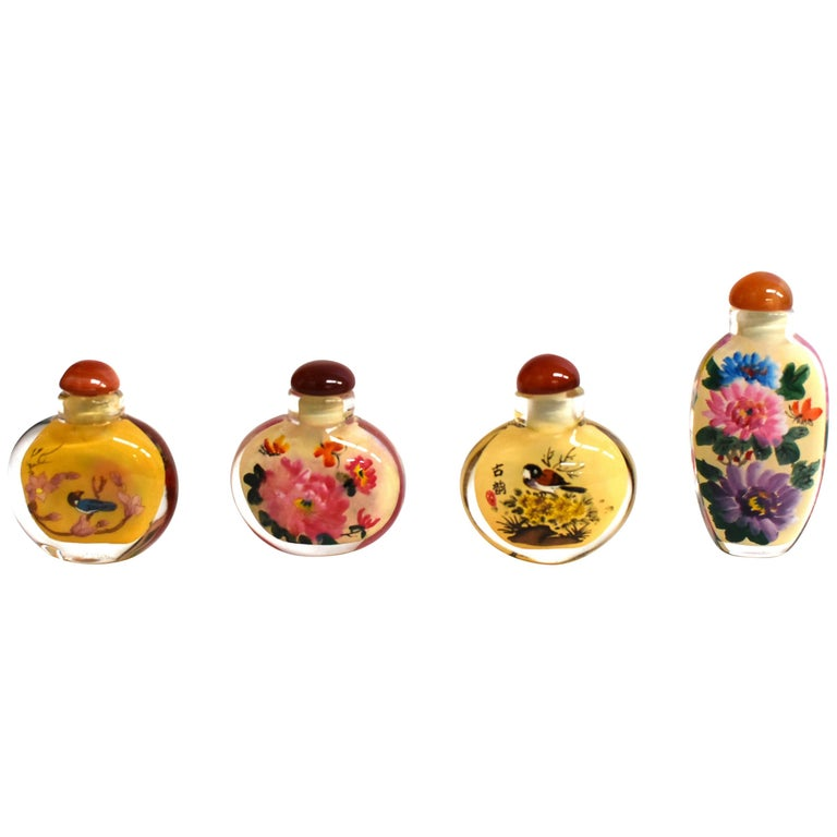 Four Églomisé Reverse Painted Snuff Bottles with Peonies and Birds For Sale