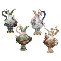 Four Elements Porcelain Ewers by Meissen