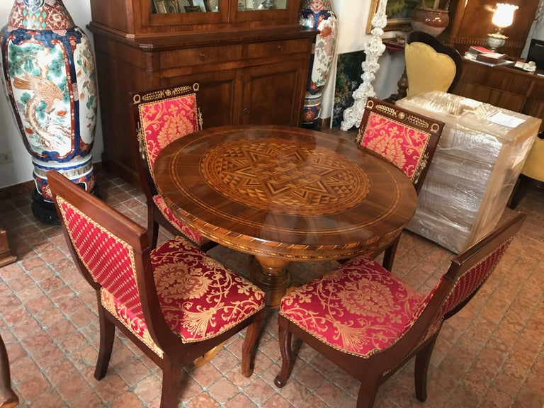 Four Italian Empire Style Chairs Mahogany with Ormolu Mounts  1970 Circa For Sale 3