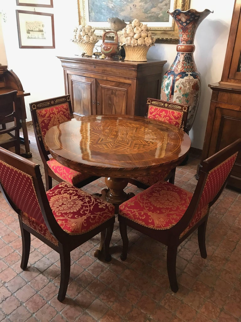 Four Italian Empire Style Chairs Mahogany with Ormolu Mounts  1970 Circa For Sale 11